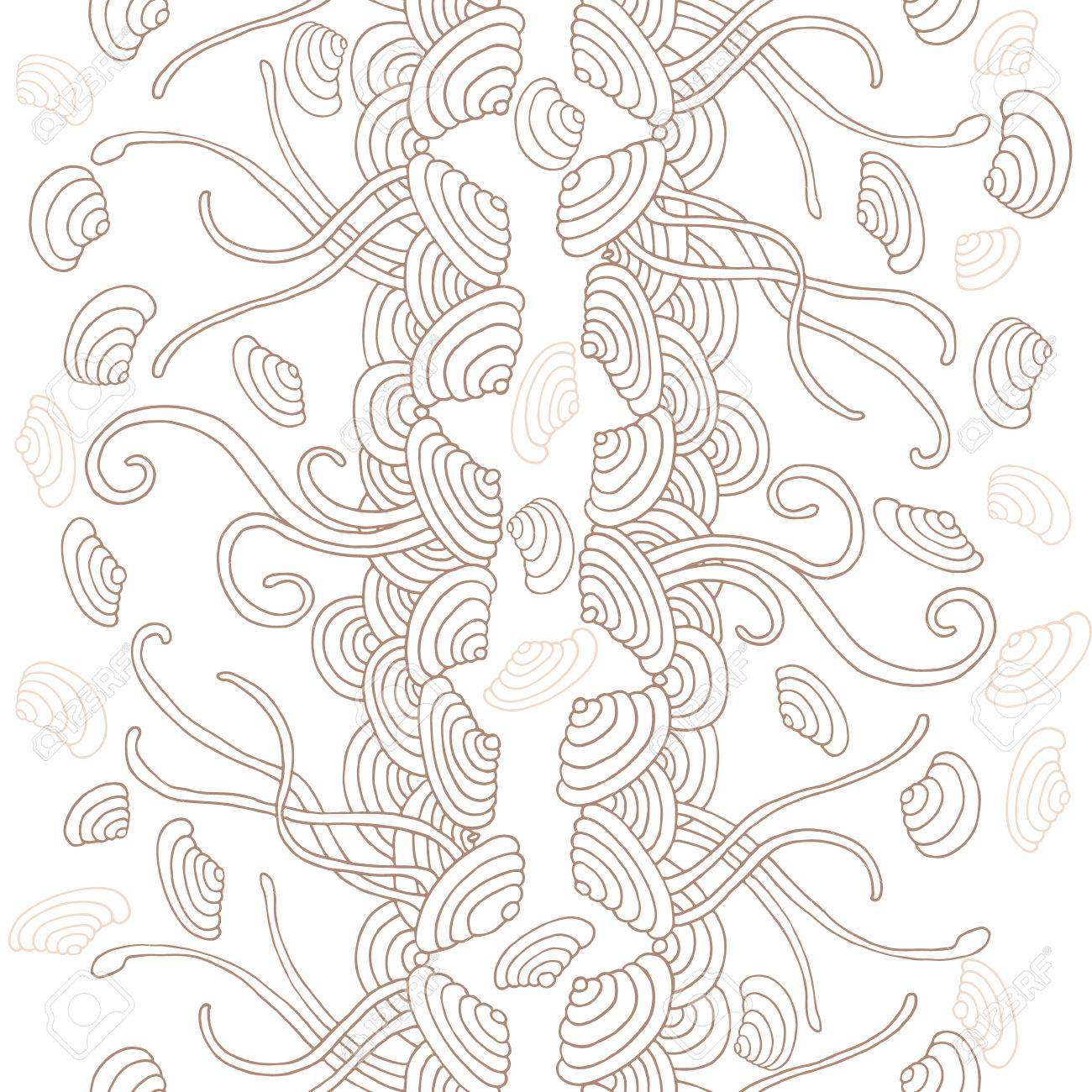 Seaweed Seamless Pattern. Seashells In Water. Royalty Free ...