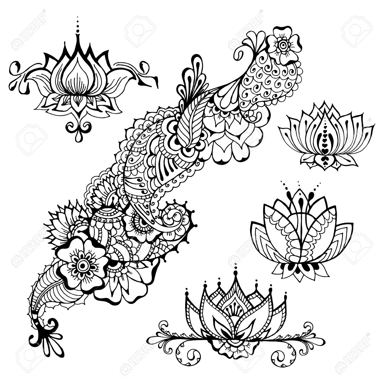 Templates For Tattoo Design With Mehndi Elements. Floral Ornament ...