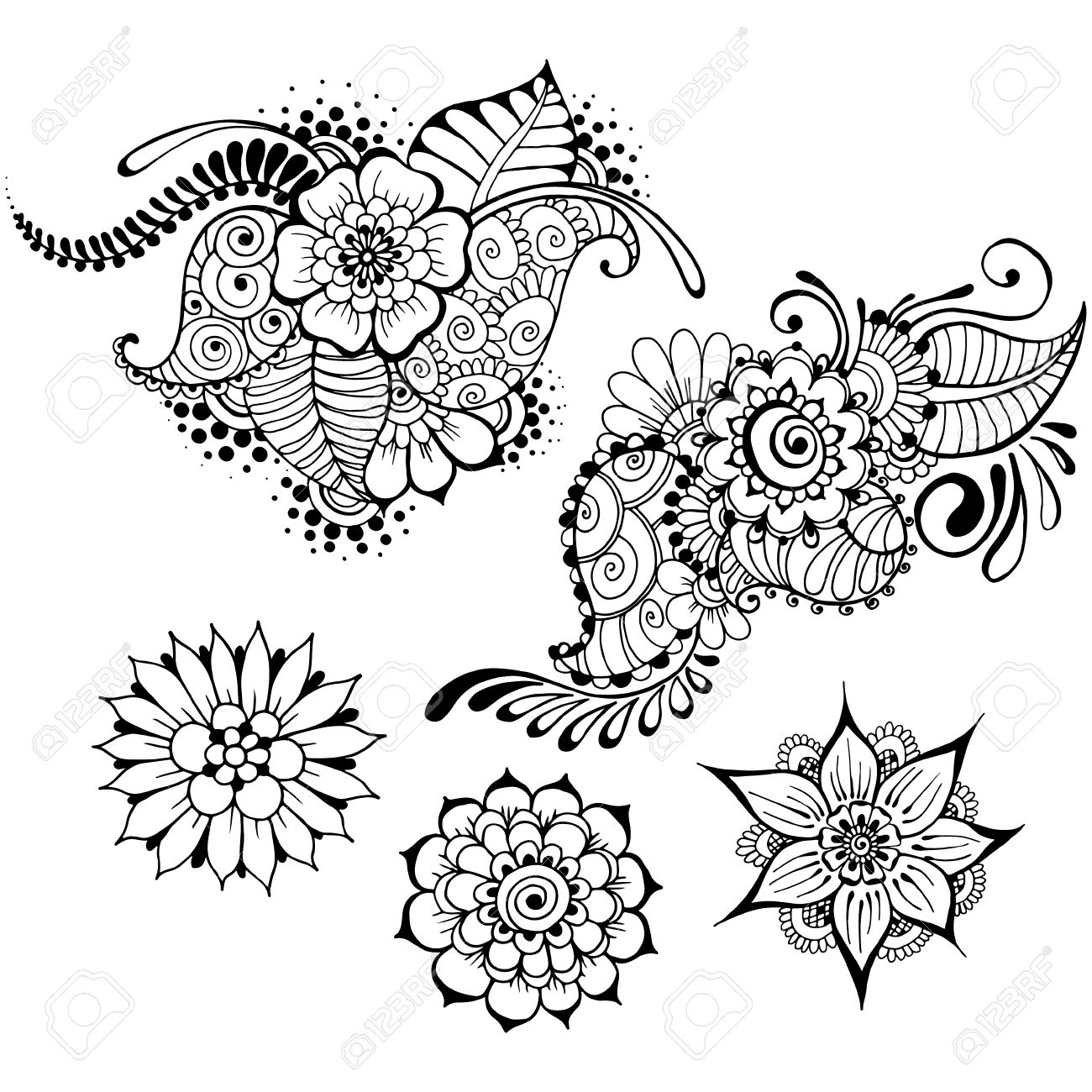 templates for tattoo design with mehndi elements floral ornament