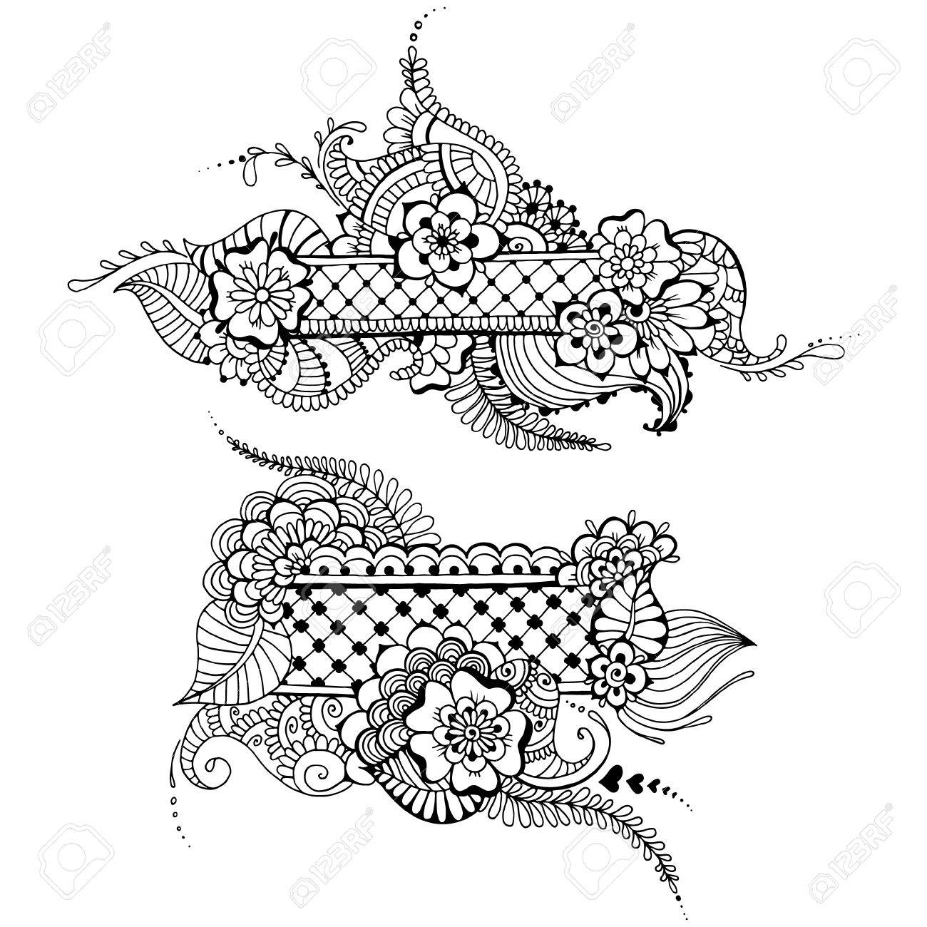 templates for tattoo design with mehndi elements royalty free