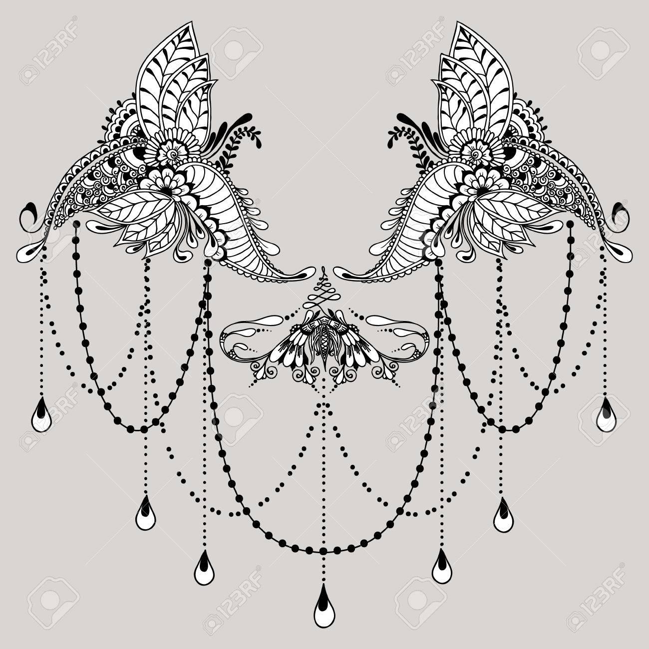 Vorlage Für Tattoo-Design Mit Mehndi Elemente. Blumenverzierung ...