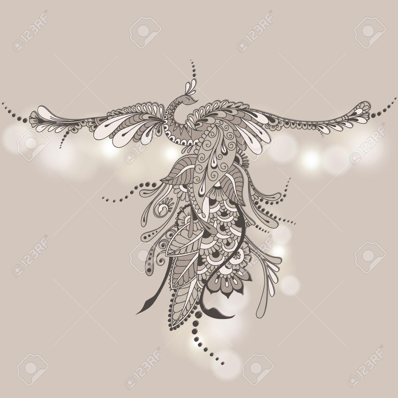 Illustration Of Flying Phoenix Bird Vector Peacock In Henna