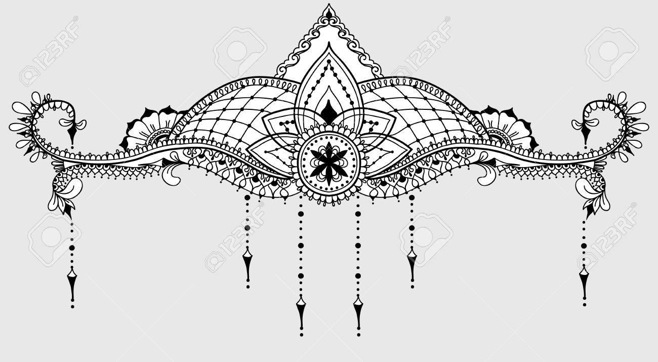 Vorlage Für Tattoo Design Mit Mehndi Elemente Und Lotus Auf Der