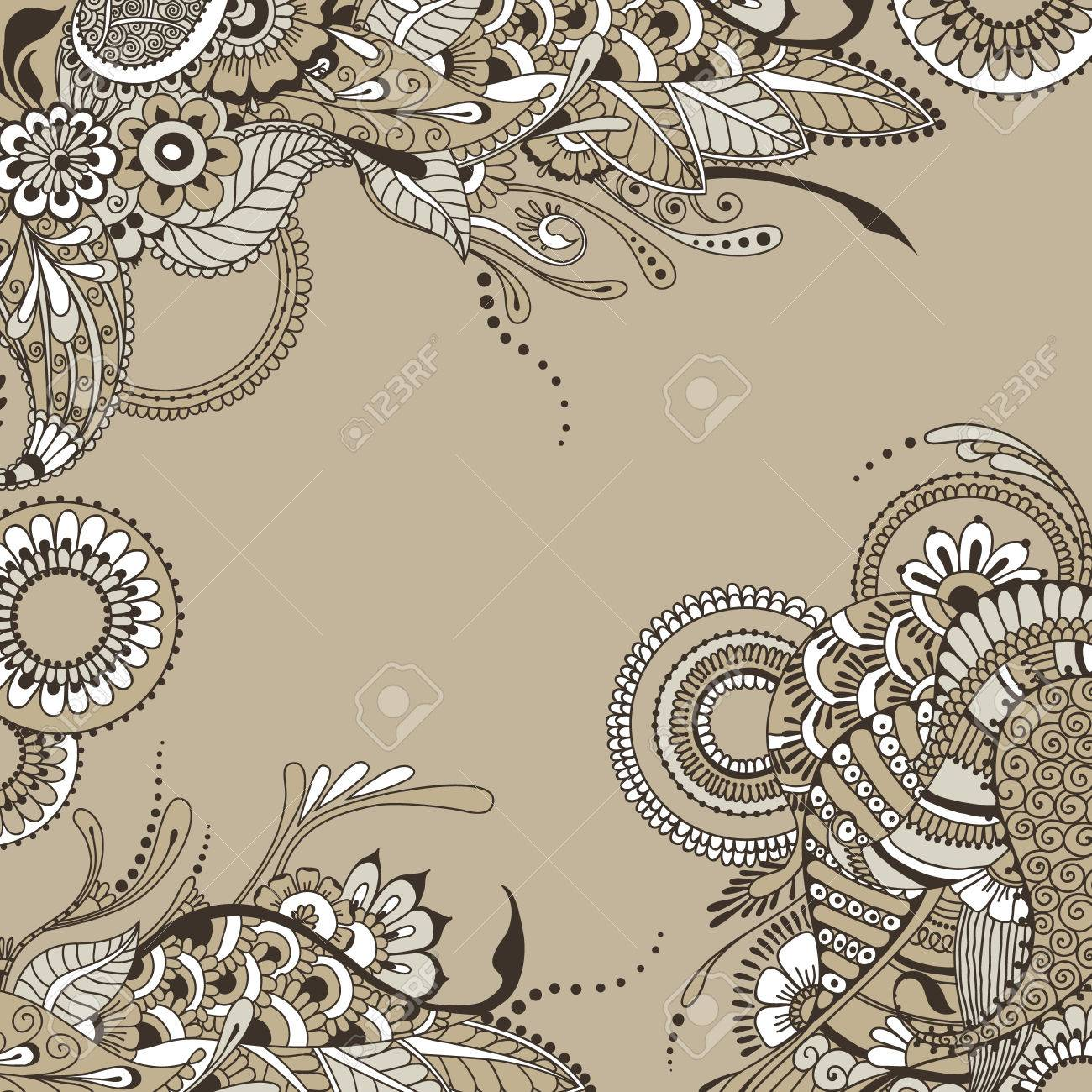 Ornate vintage vector background in mehndi style royalty free stock - Ornate Vector Card Template In Indian Mehndi Style Hand Drawn Abstract Background For Invitation