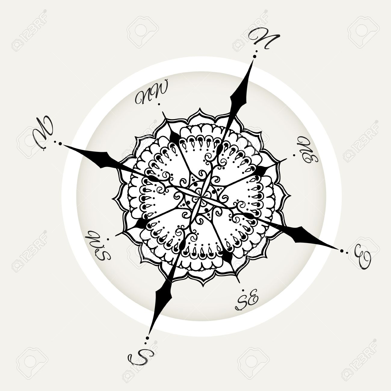 Graphic Wind Rose Compass Drawn With Floral Elements Nautical