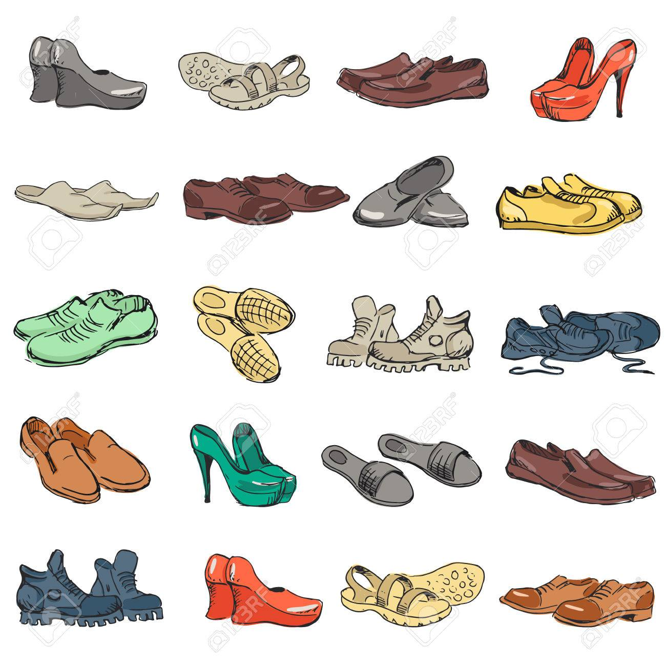 Hand drawing various types of different footwear  Shoes icons