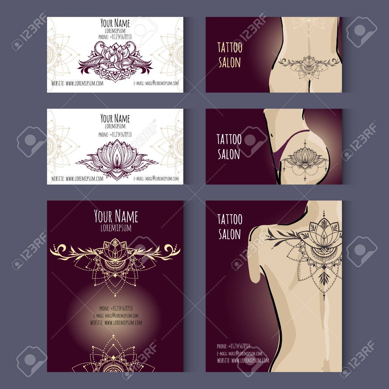 Set Of Business Cards Templates For Tattoo Salon Or Invitation ...