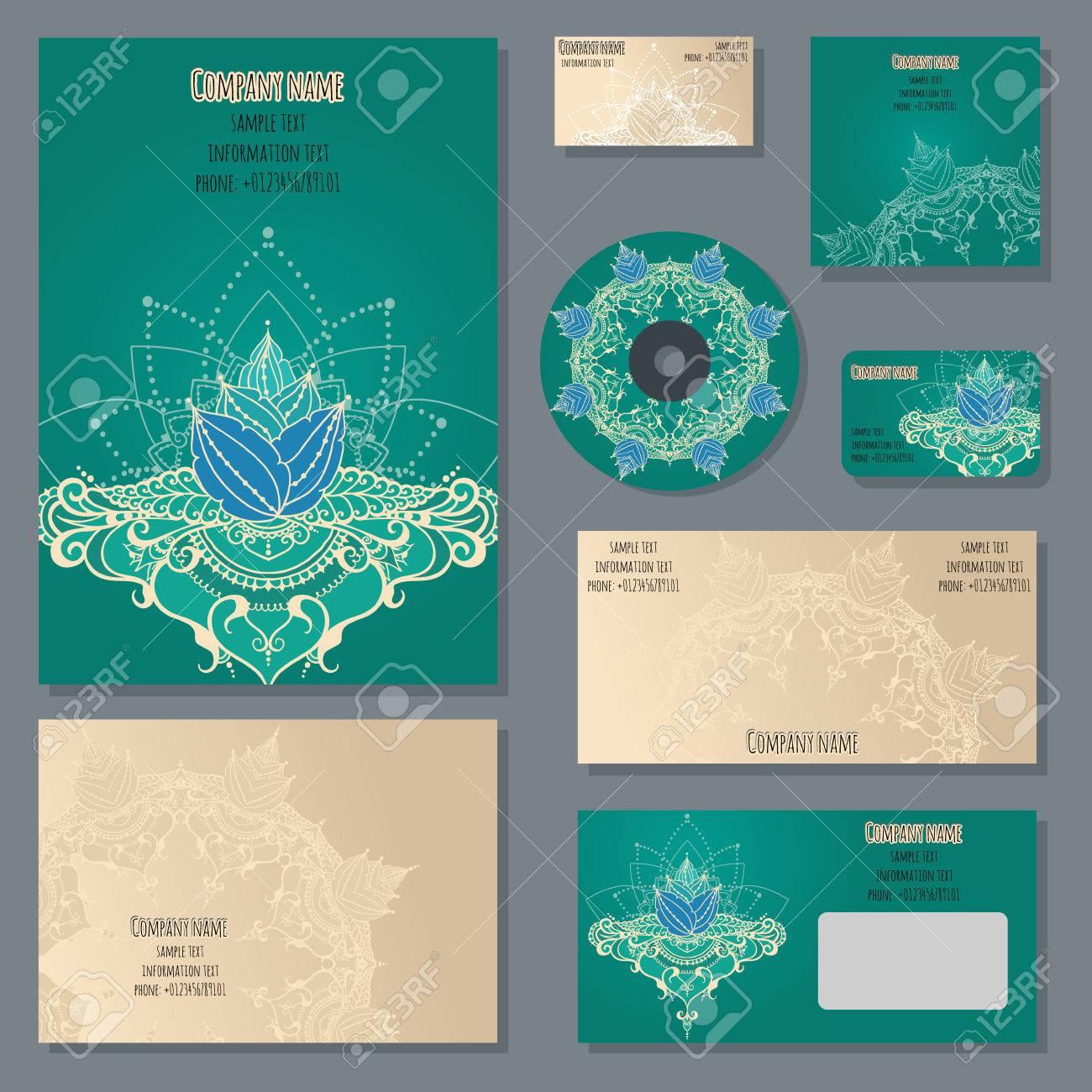 Enveloppes Cahiers Carte De Credit Visite Et Dinvitation Avec Ornement Floral Style Dentreprise Fleur Lotus