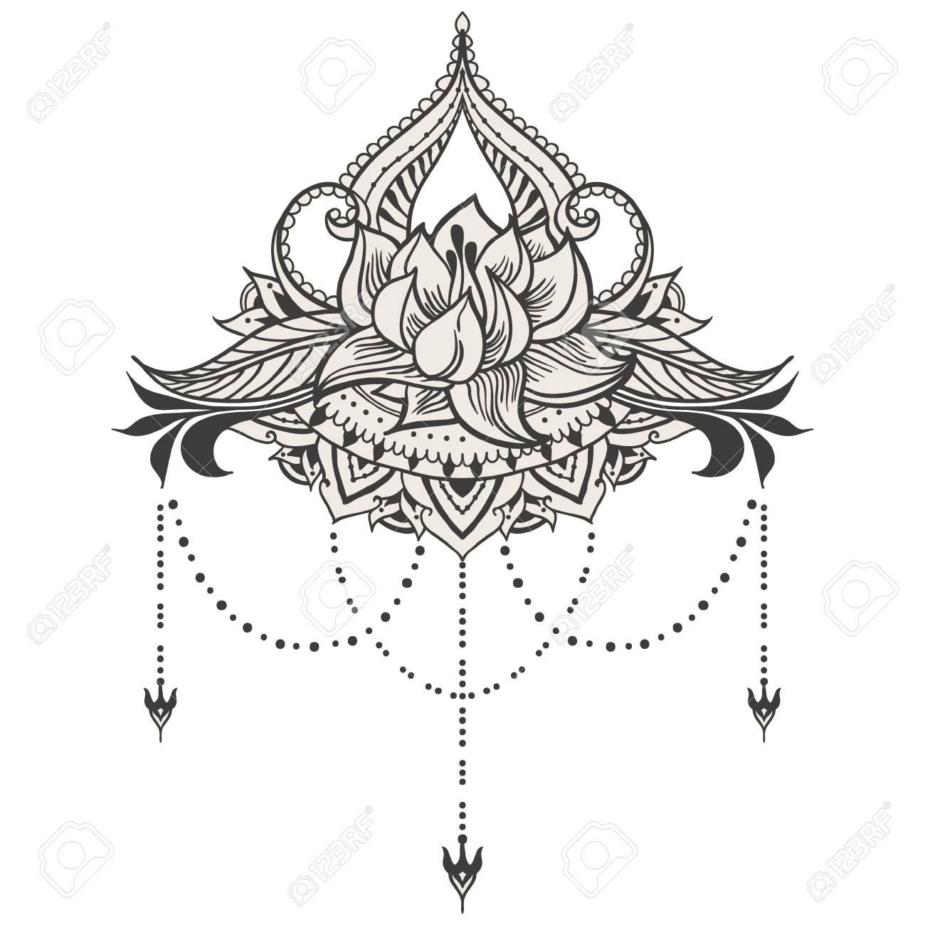 Hand,drawn lotus in east style. Can be used for backgrounds,..