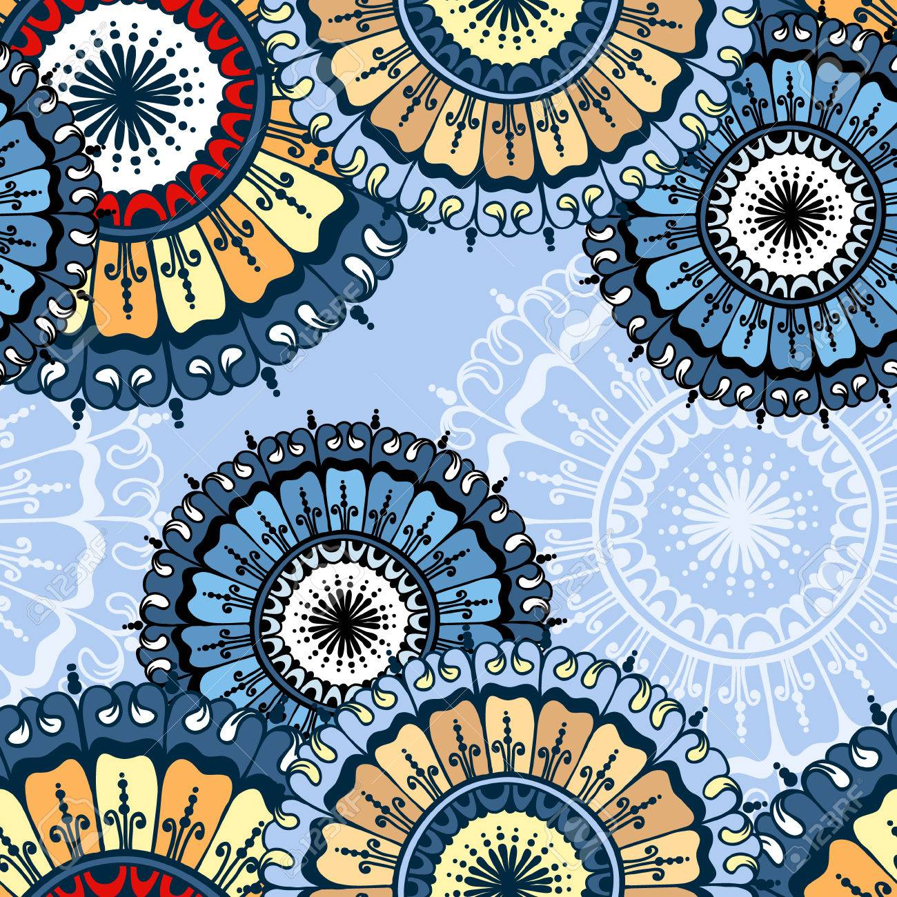 seamless pattern with circular floral ornament floral background