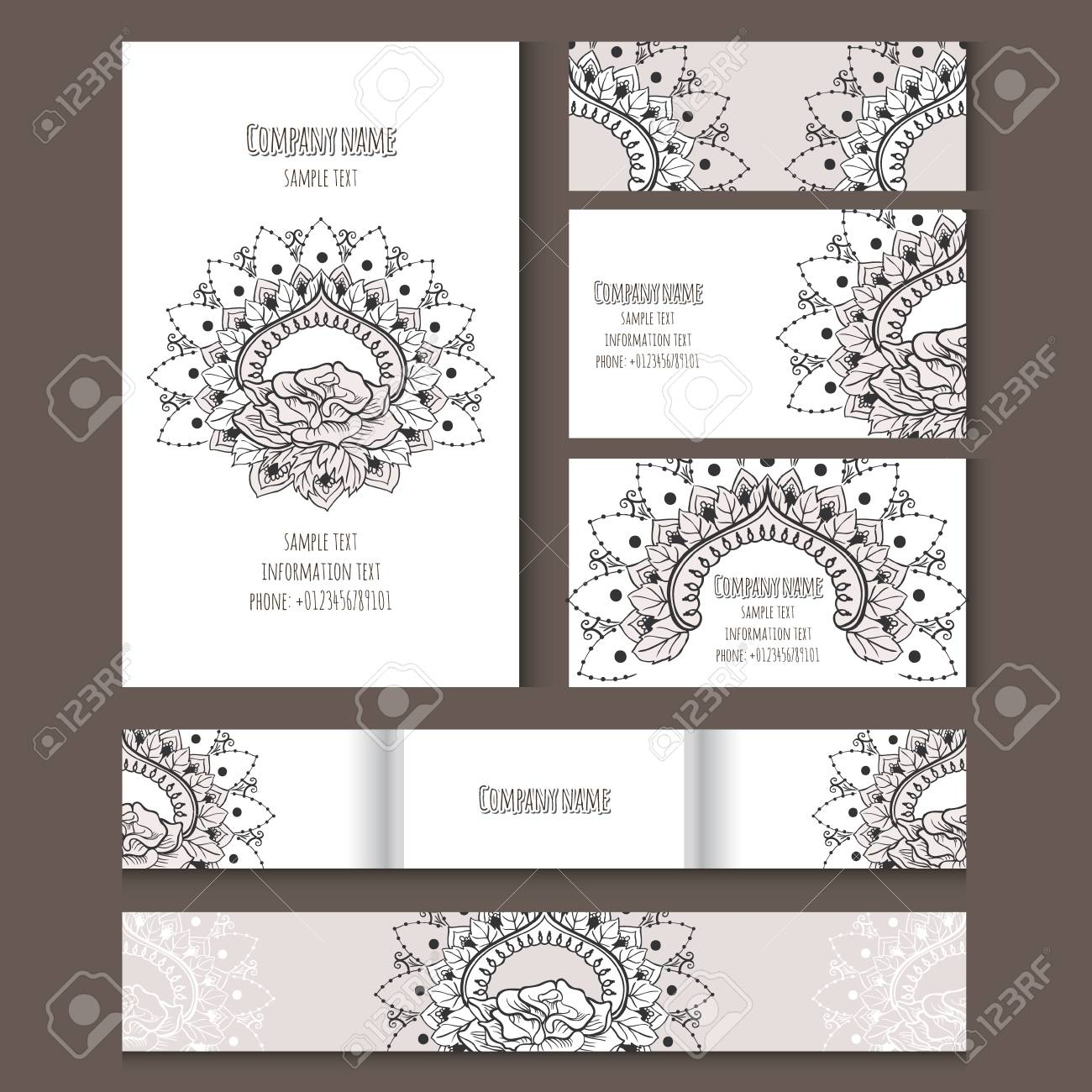 Set of templates for notebooks cards business cards and invitation set of templates for notebooks cards business cards and invitation card with floral ornament stopboris Gallery