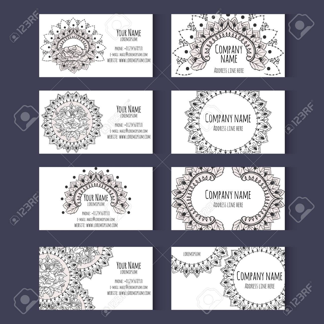 Set Of Templates For Business Cards Or Invitation Cards With ...