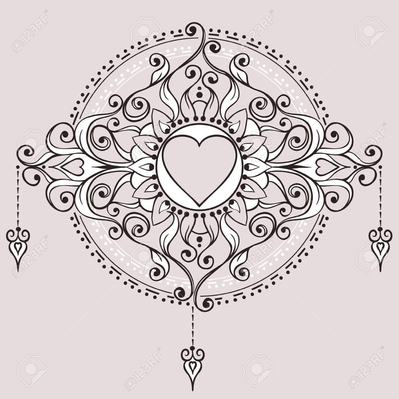 Croquis Tatouage croquis de coeur de tatouage au henné. éléments mehndi pour la