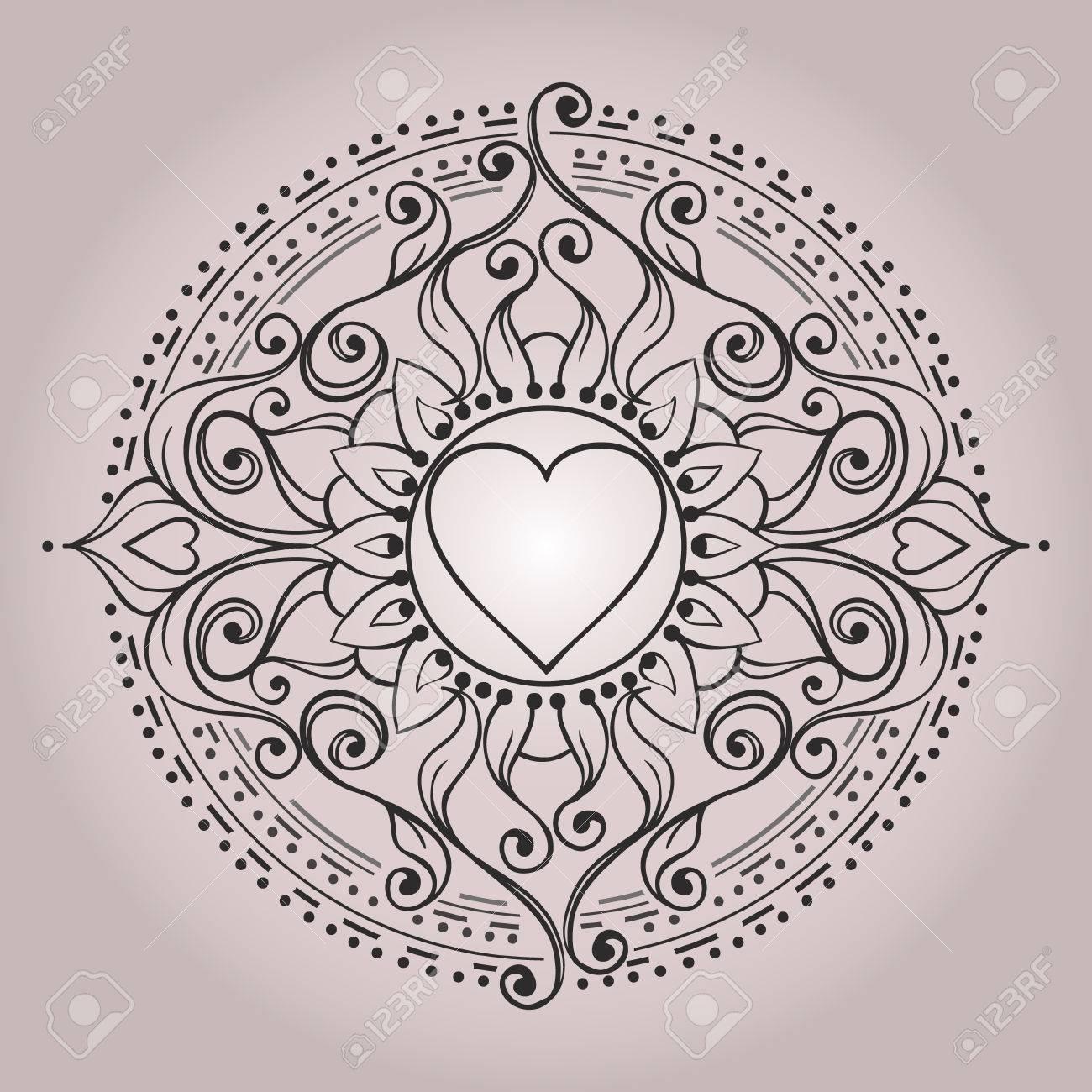 Sketch Of Henna Heart Tattoo Mehndi Elements For Tattoo Design