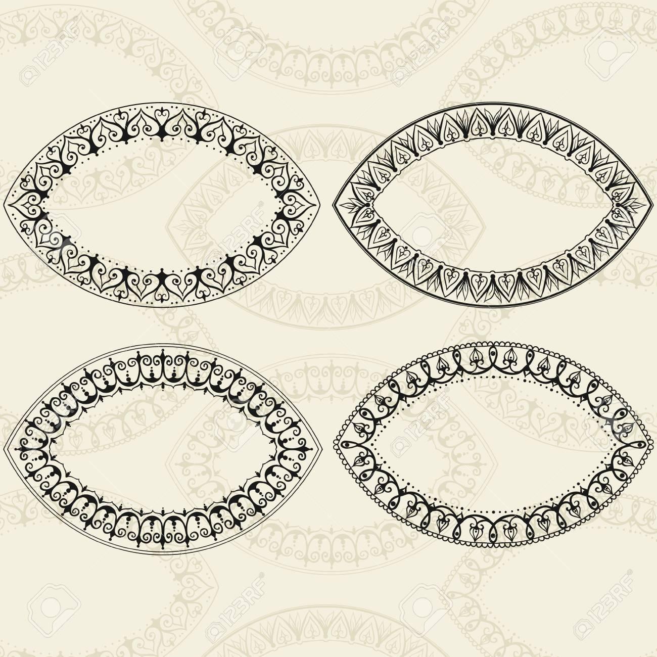 Vier Ovale Rahmen Im Oststil. Kann Für Die Glückwunschkarten ...