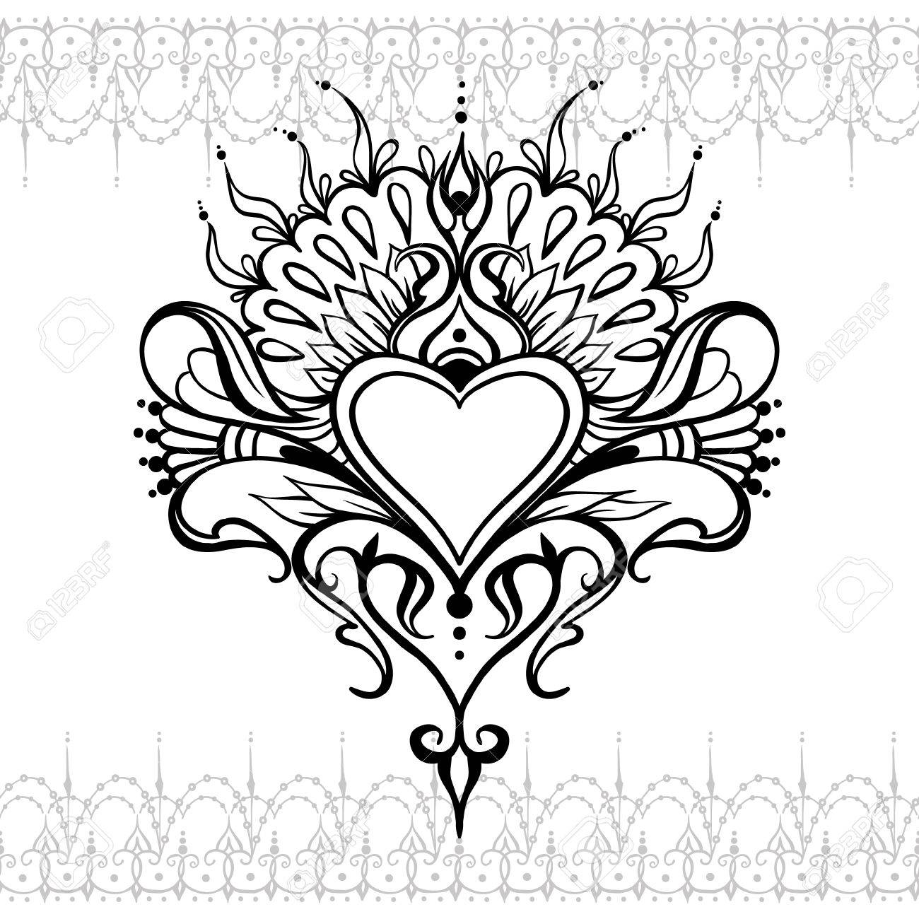 Sketch Of Tattoo Henna Heart Mehndi Element For Photo Frame