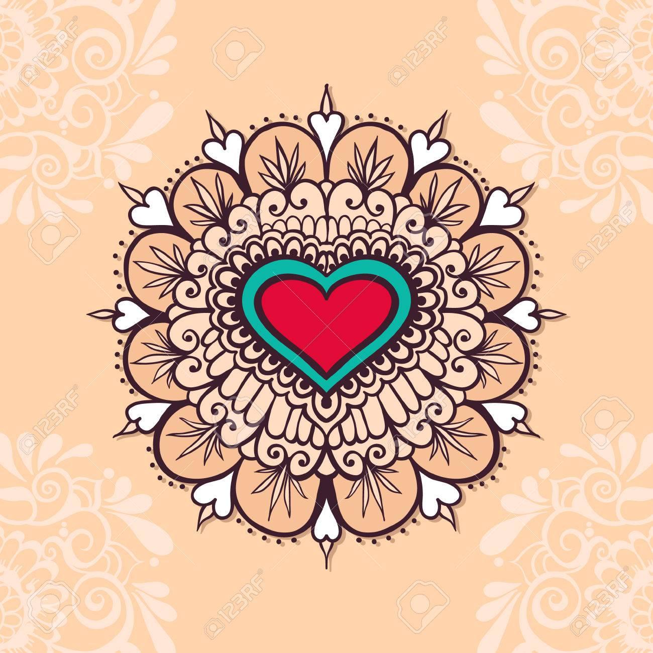 Henna-Tätowierung Herz. Mehndi Element Für Tattoo-Design ...