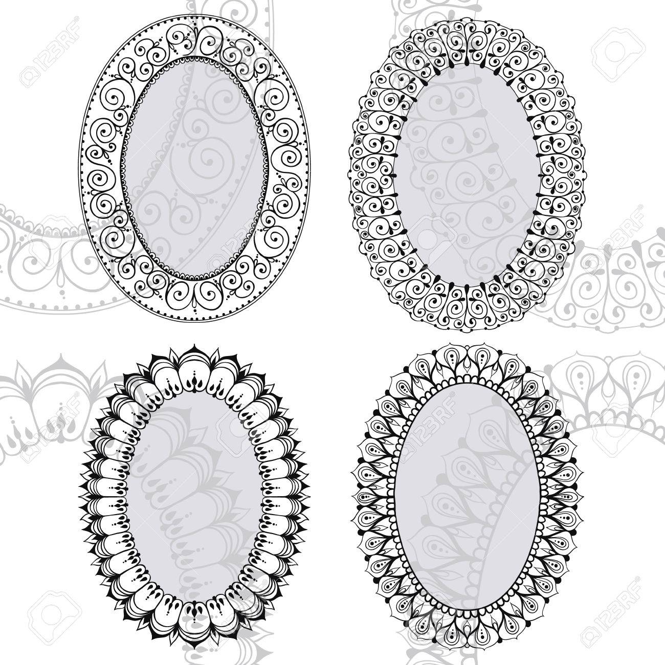 Four Oval Frames In East Style. Can Be Used For The Congratulations ...