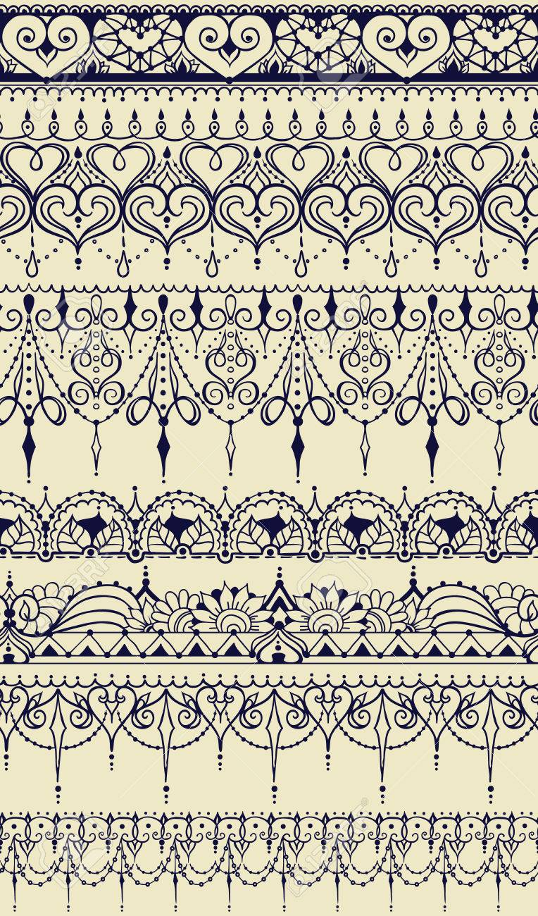 Sketch Of Endless Stripes In Henna Tattoo Style Mehndi Element