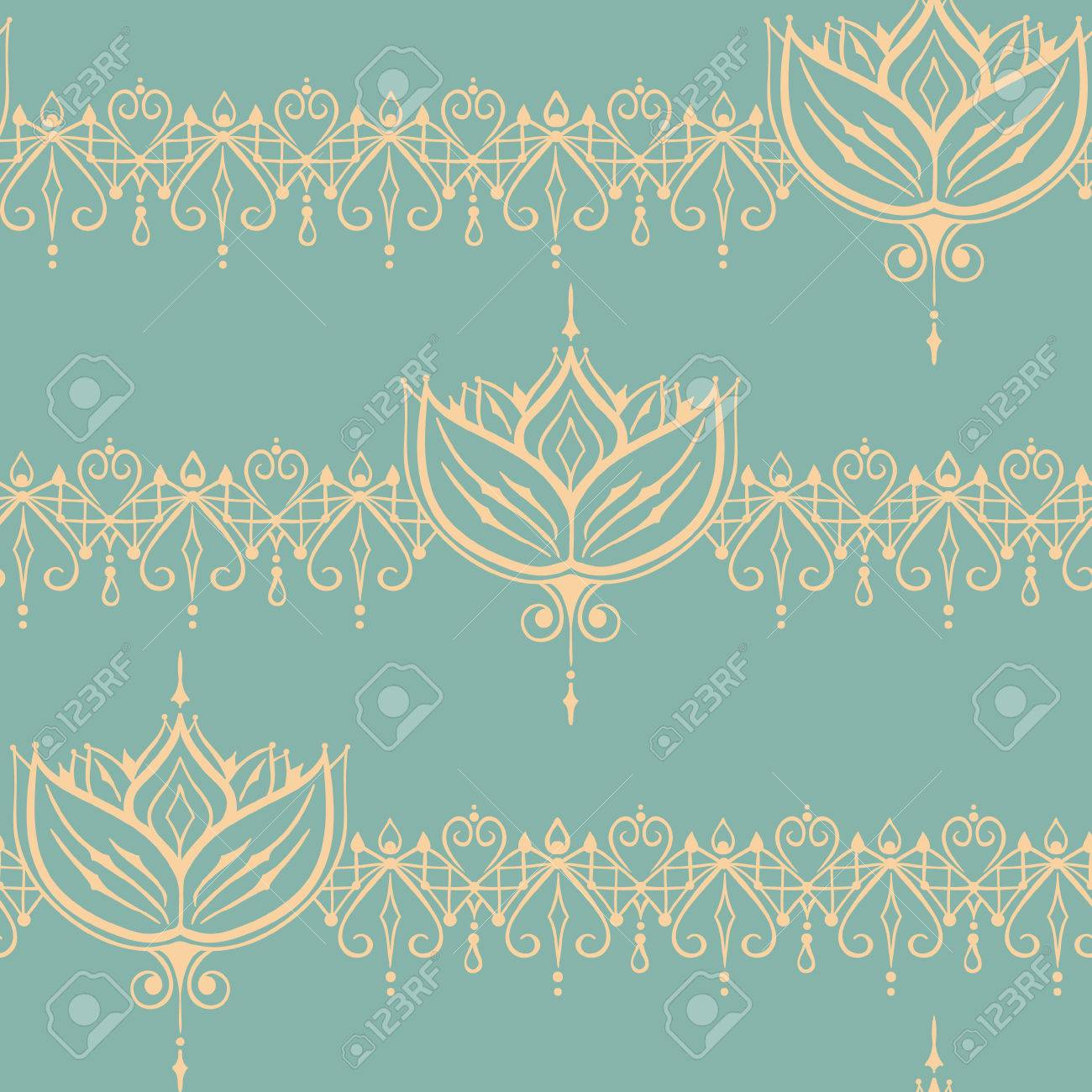 Sketch Of Endless Stripes And Lotus Flower In Henna Tattoo Style