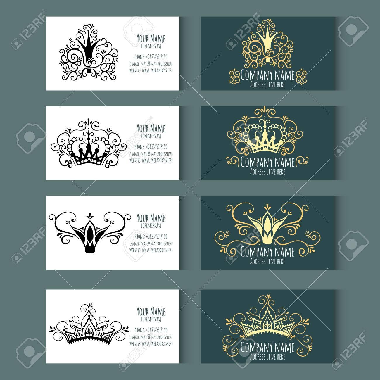 Conjunto De Plantillas Para Tarjetas De Visita Con Coronas. Estilo ...