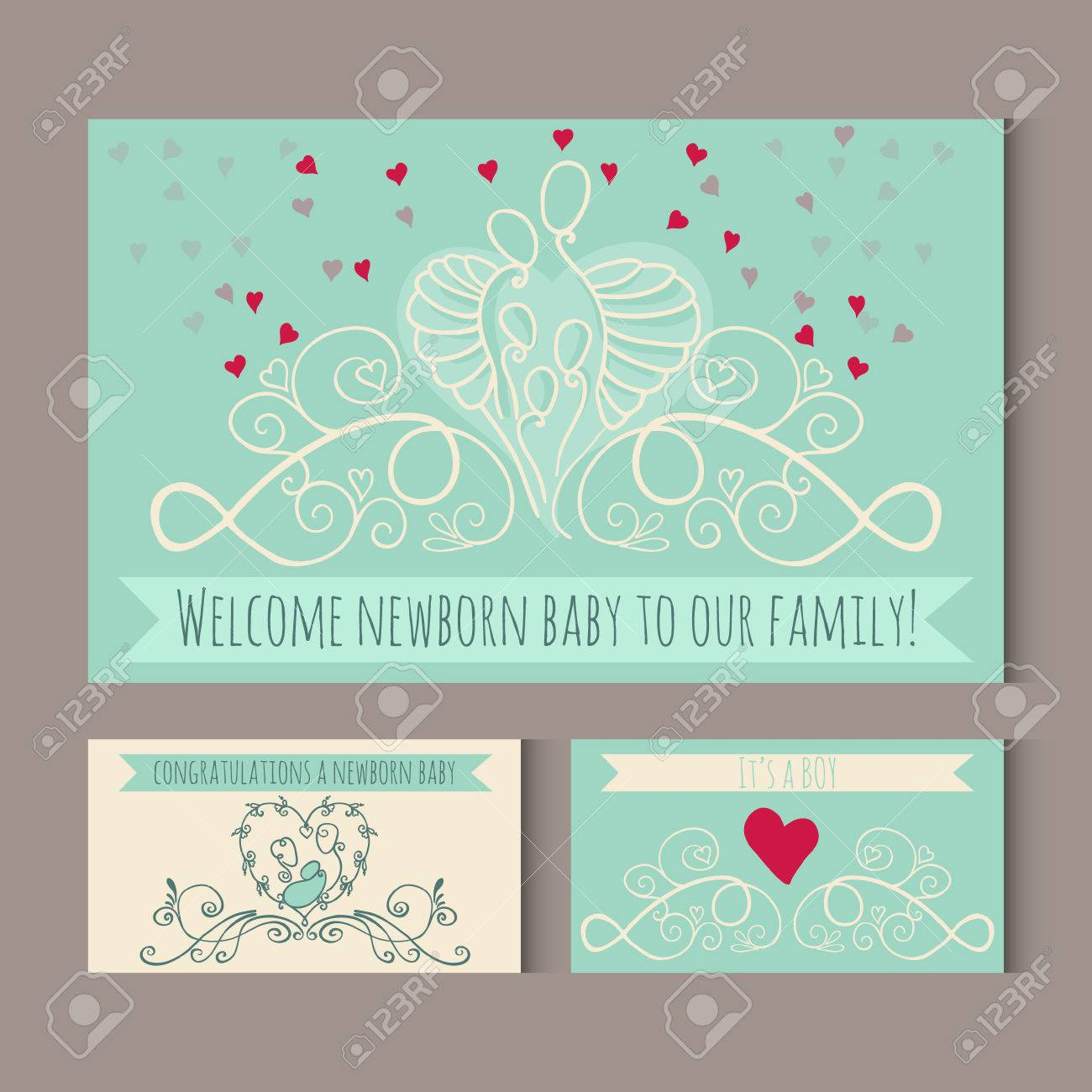 Greeting Cards With Symbols Of Happy Family Welcome Newborn