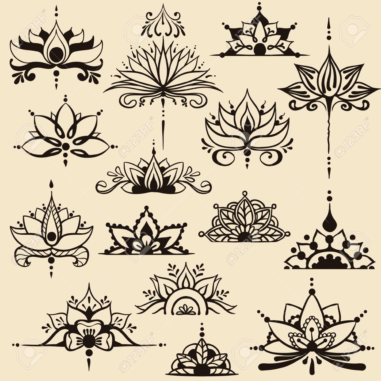 Quinze Dessins A Main Levee De Fleurs De Lotus Dans Le Style Est