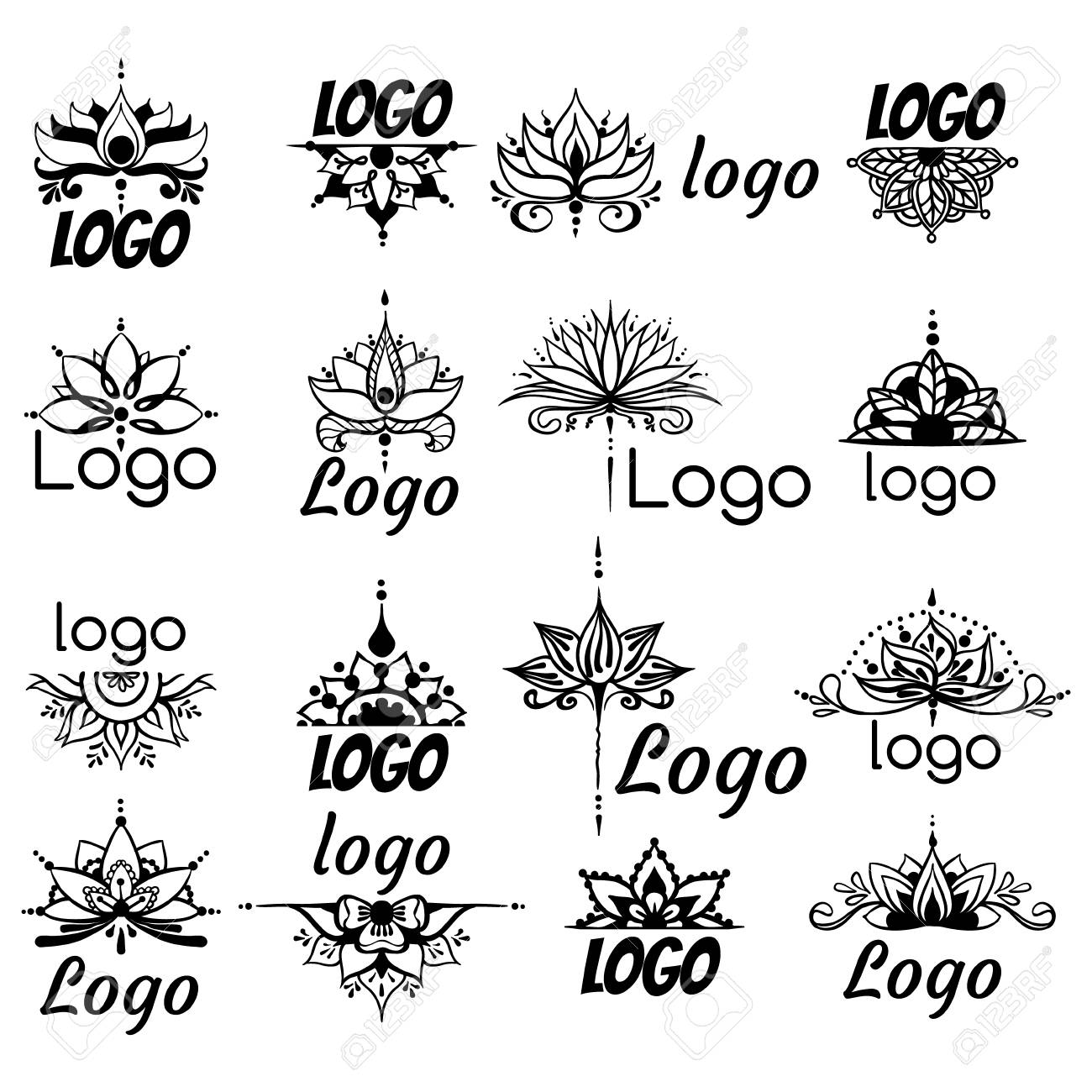 Sixteen Freehand Drawings Of Logos With Lotus Flowers In East