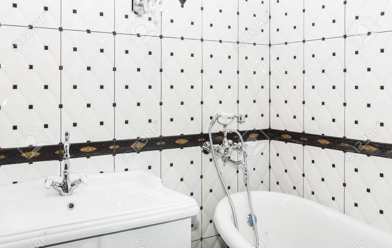 Bathroom Interior In Art Deco Style Classic Bathroom And Washbasin Stock Photo Picture And Royalty Free Image Image 122161193