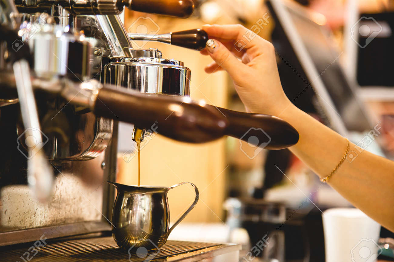 female Barista Cafe Making Coffee Preparation Service Concept - 171606182