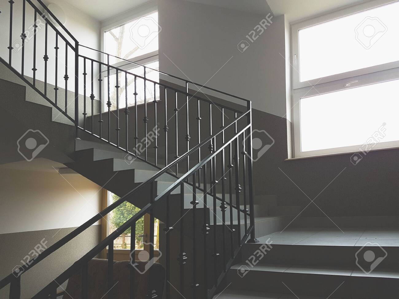 A Staircase With Forged Cast Iron Railings In A Modern Building Stock Photo Picture And Royalty Free Image Image 123366211