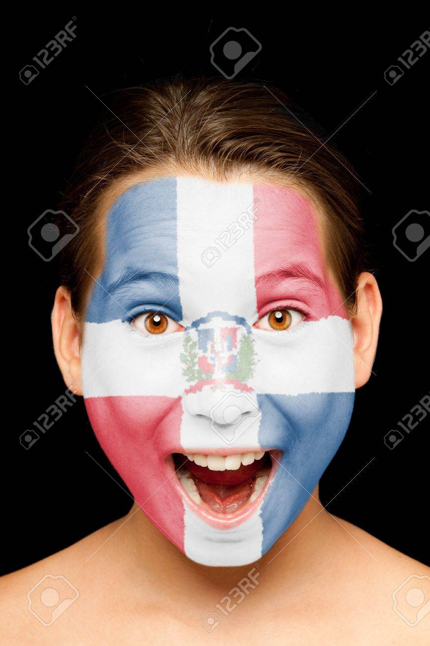 portrait of girl with Dominican Republic flag painted on her face Stock Photo - 17565423