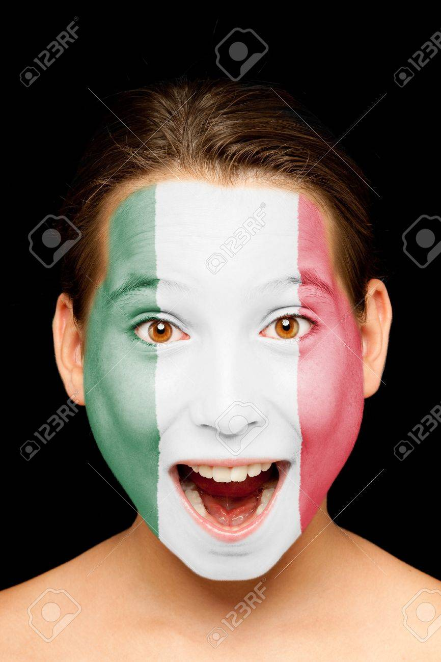 portrait of girl with mexican flag painted on her face Stock Photo - 17588627