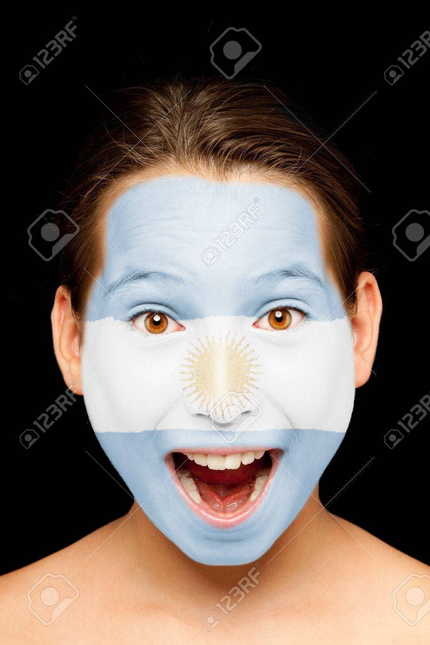 portrait of girl with argentinian flag painted on her face Stock Photo - 17588614