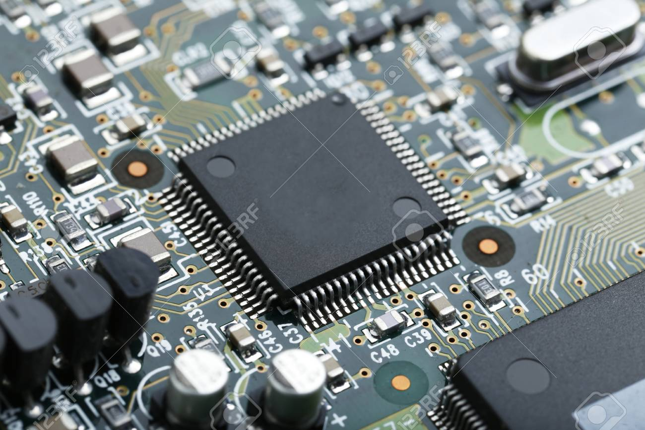 Closeup Of Electronic Circuit Board With Cpu Microchip Royalty Free Stock Photography Components Background Photo 67982479