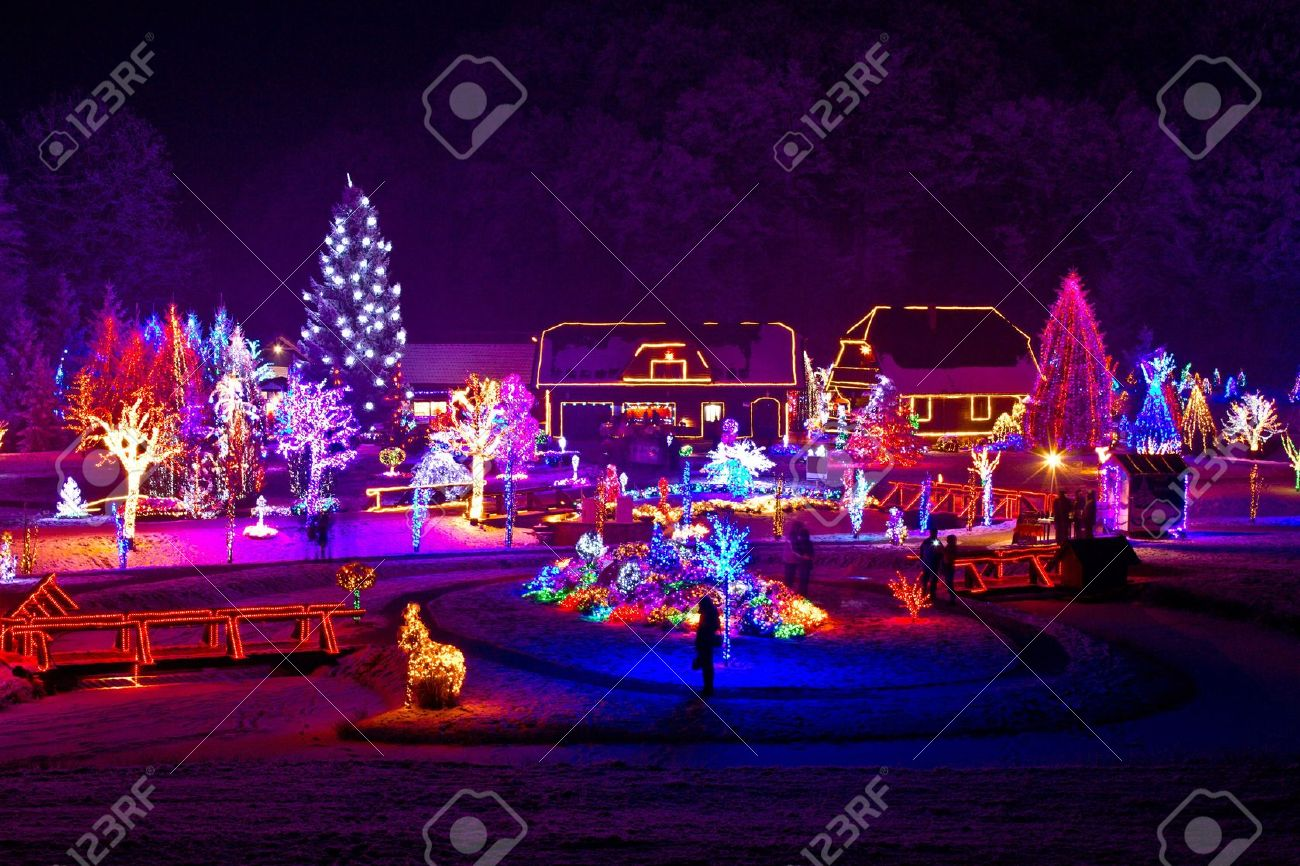 Christmas Lights On Houses.Christmas Fantasy Trees And Houses In Lights On Beautiful Snowy