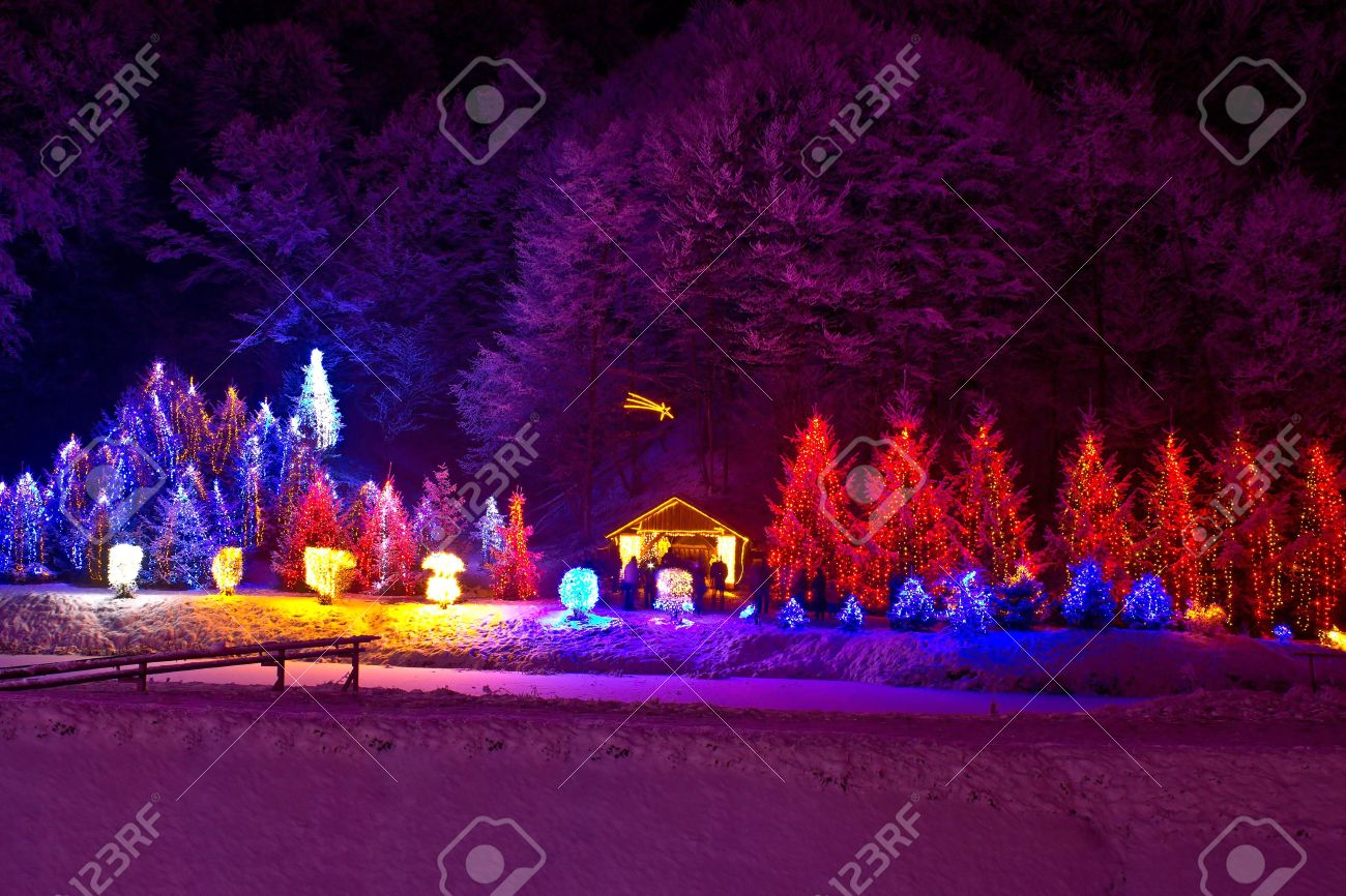 Christmas Lights On Chapel And Pine Trees; With Nativity Scene ...