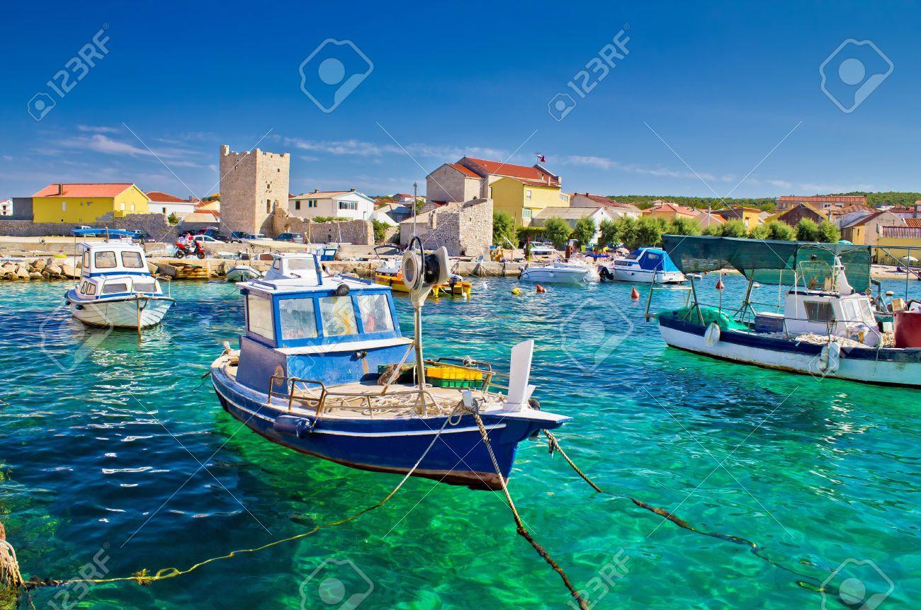 Adriatic Town of Razanac colorful waterfront, Dalmatia, Croatia - 21776878