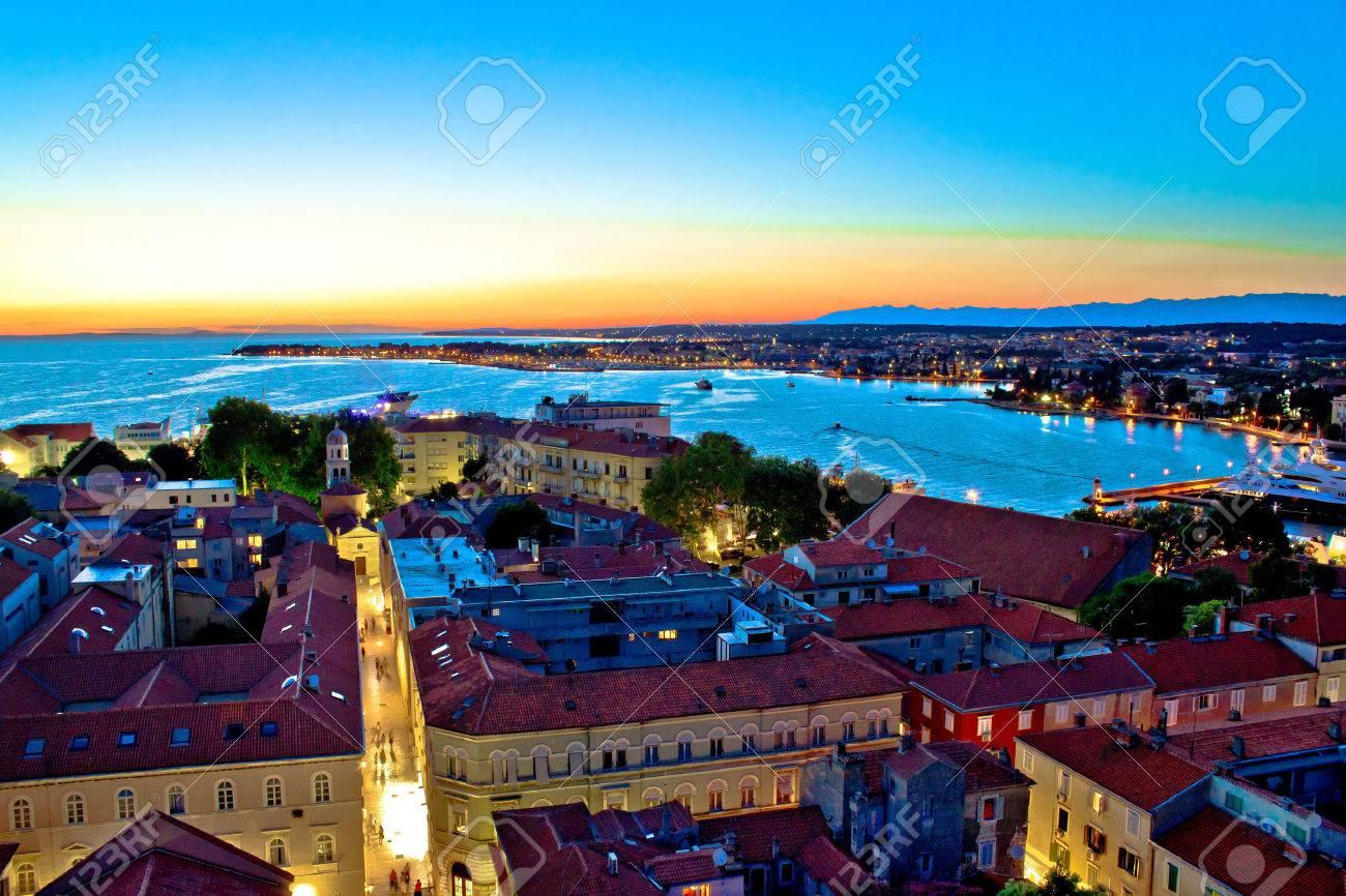 Colorful nightscapes of city Zadar, Dalmatia, Croatia - 23010837