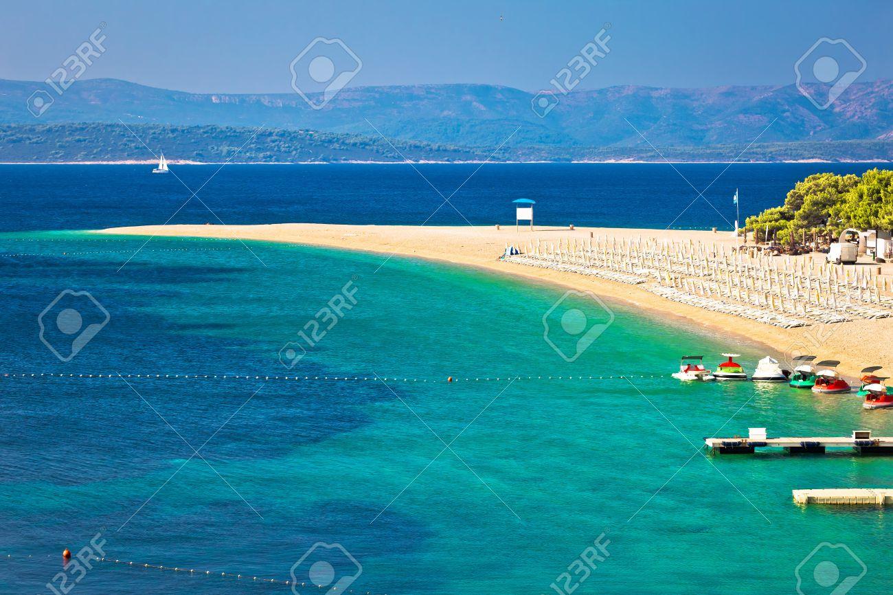 Zlatni Rat famous turquoise beach in Bol on Brac island view, Dalmatia, Croatia - 63405133