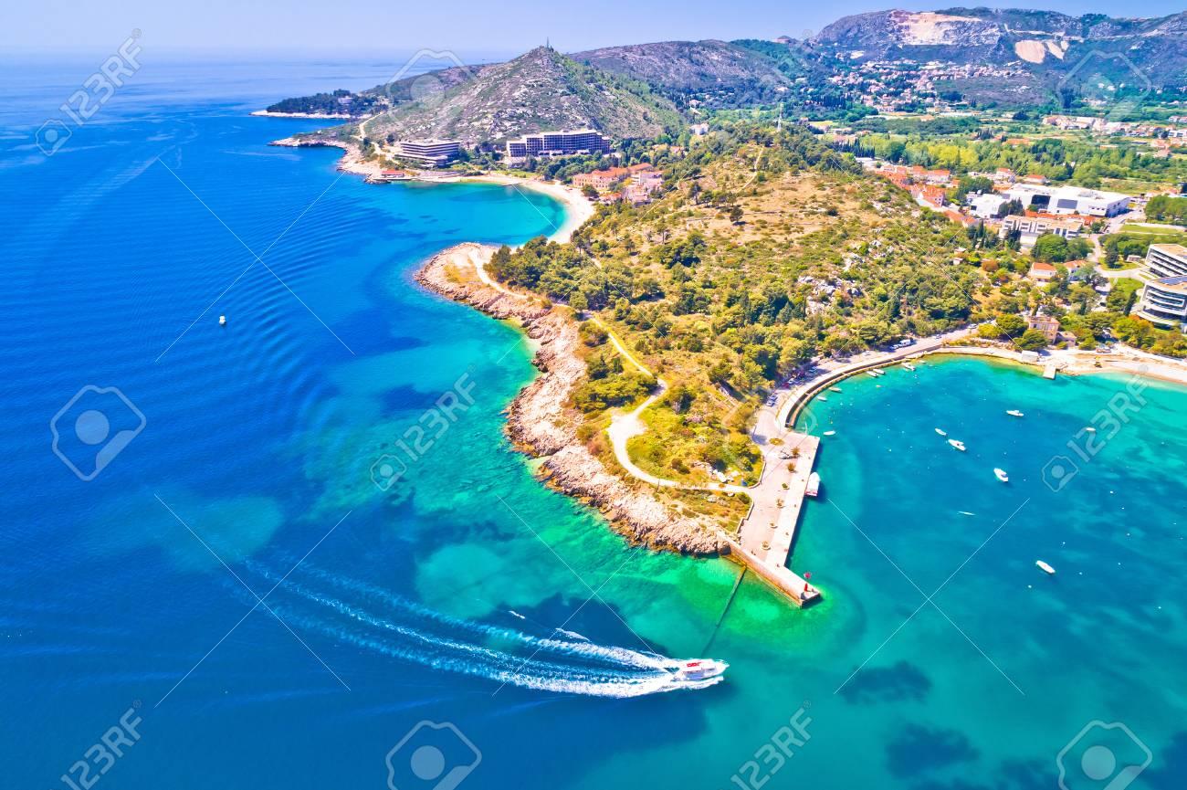Aerial view of Dubrovnik emerald coastline in Srebreno, Dalmatia region of Croatia - 100841157