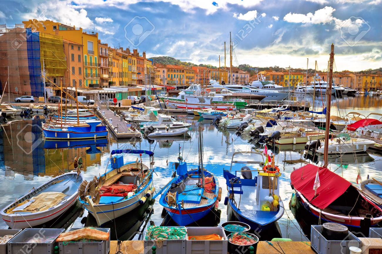 Colorful harbor of Saint Tropez at Cote d Azur view, Alpes-Maritimes department in southern France - 115867608