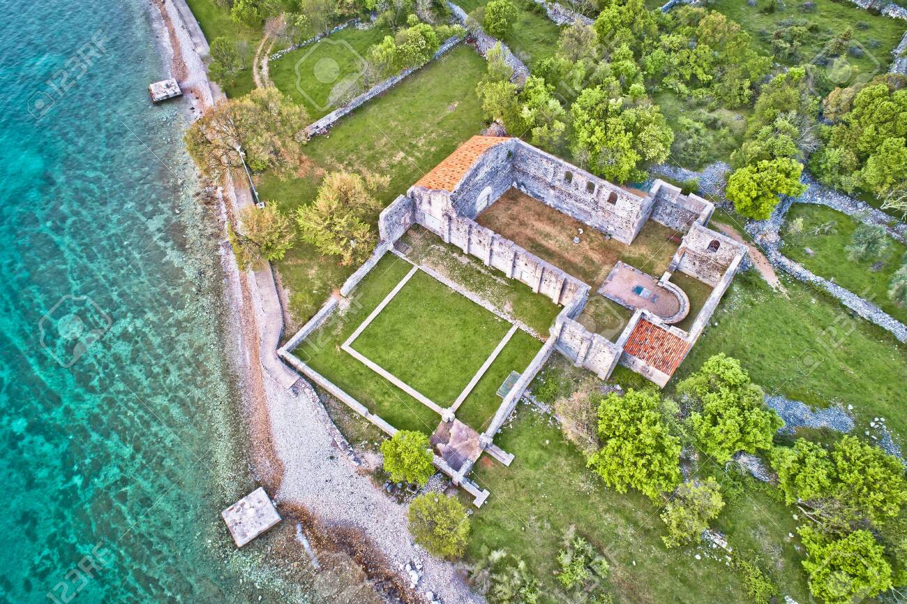 Island of Krk Fulfinum Mirine basilica ruins near Omišalj aerial view, Kvarner bay of Croatia - 123098479