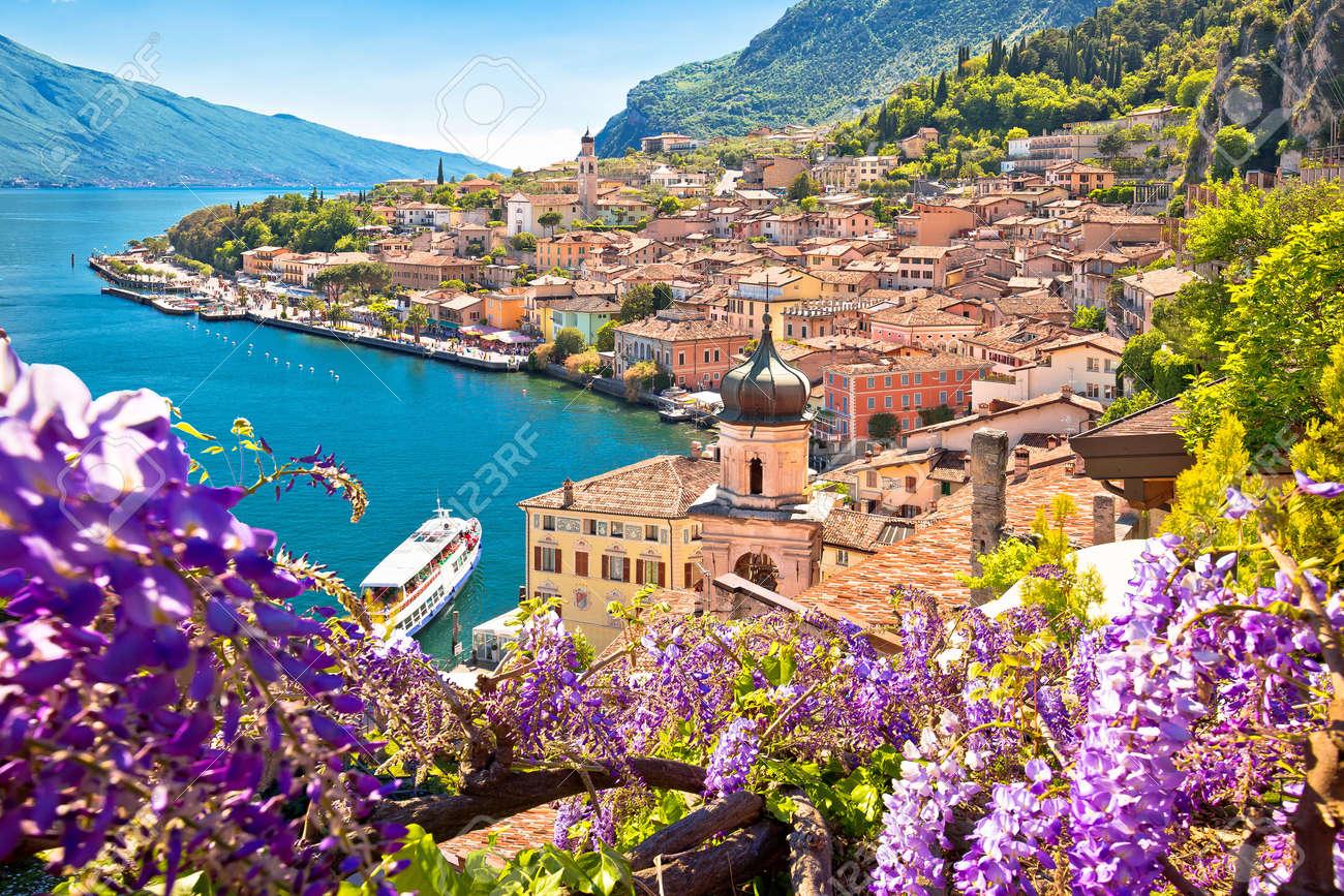 Town of Limone sul Garda on Garda lake view, Lombardy region of Italy - 158534399