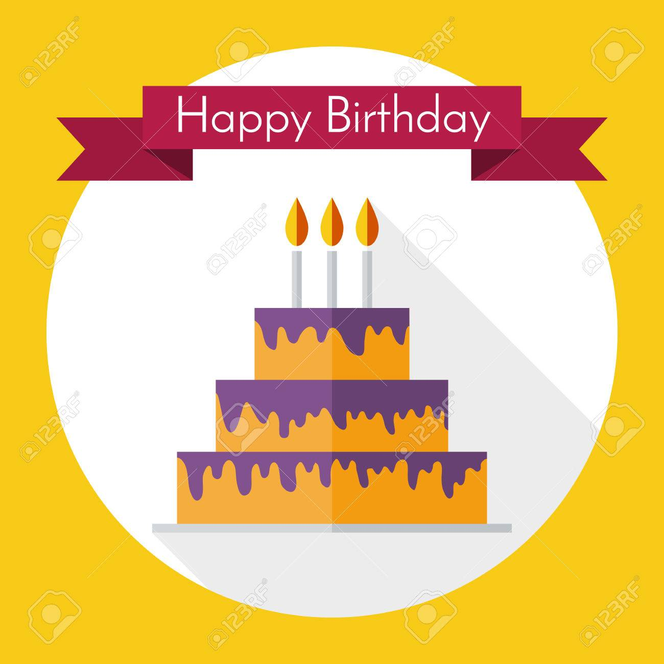 Birthday Cake In Flat Style Royalty Free Cliparts Vectors And