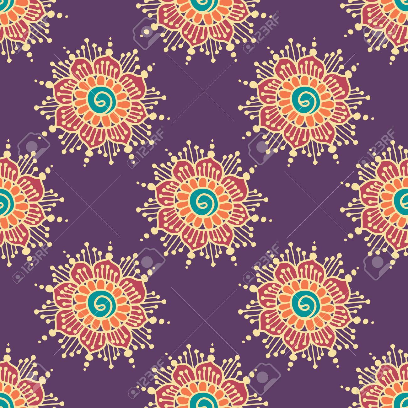 Indian style seamless pattern with ethnic flowers background indian style seamless pattern with ethnic flowers background for textile or wrapping paper stock mightylinksfo