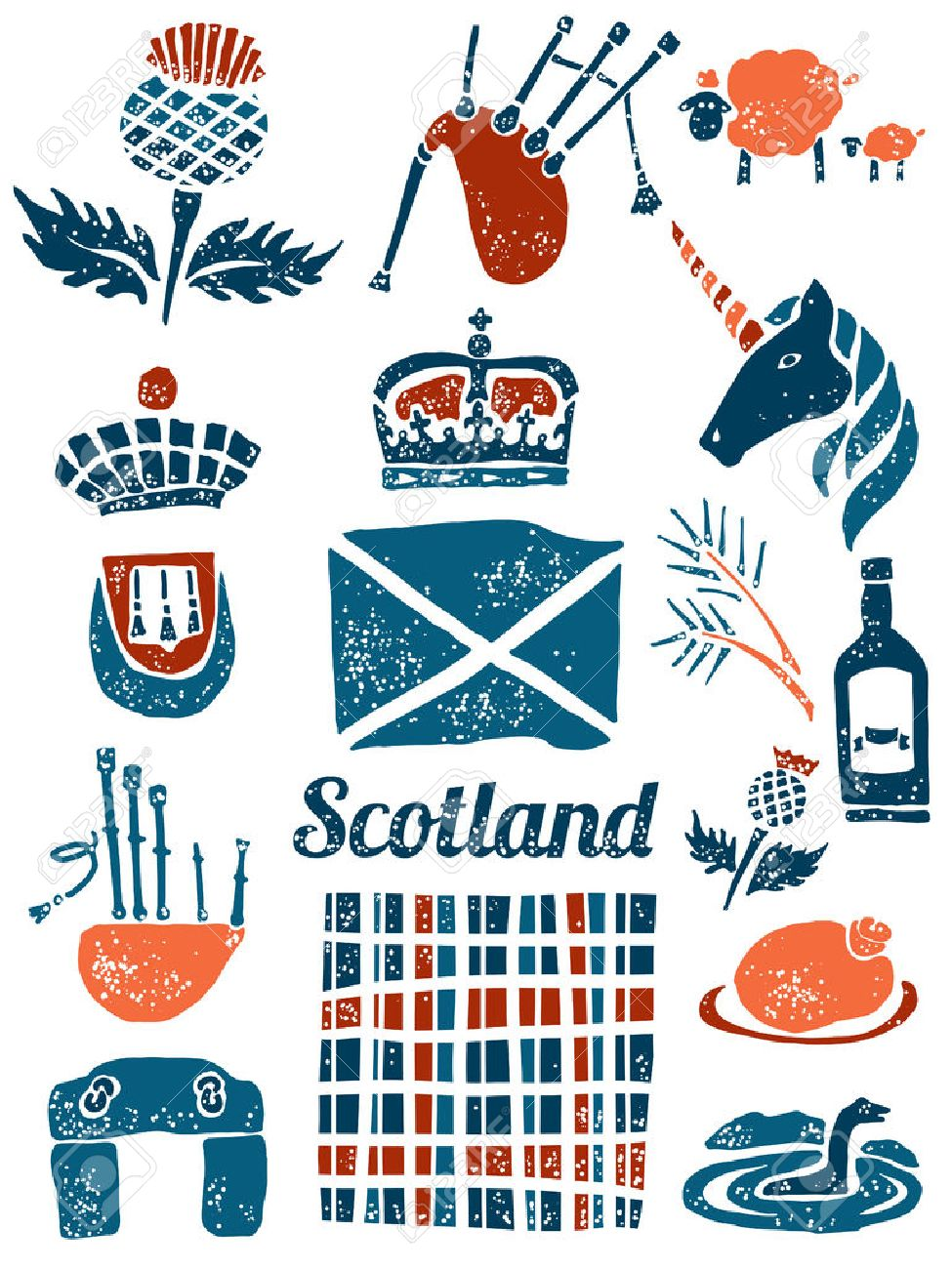 Symbols of scotland vector set in lino style royalty free cliparts symbols of scotland vector set in lino style stock vector 52223260 buycottarizona Image collections