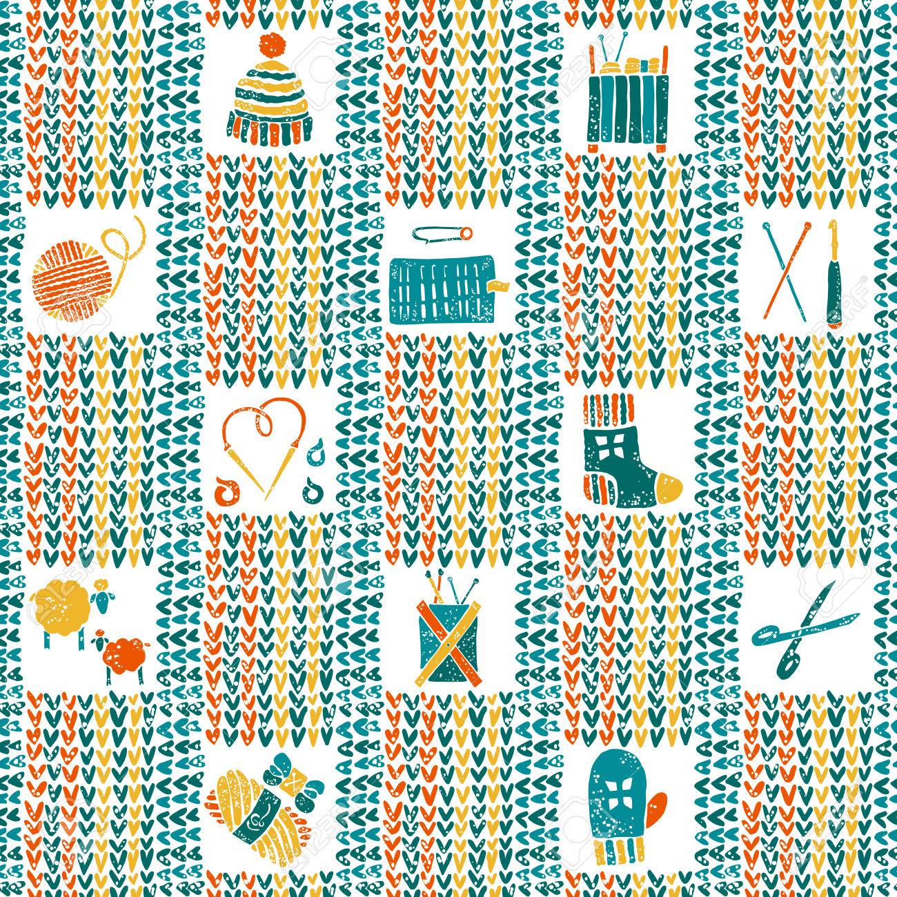 Vector Knitted Seamless Pattern With Knitting Accessories Royalty ...