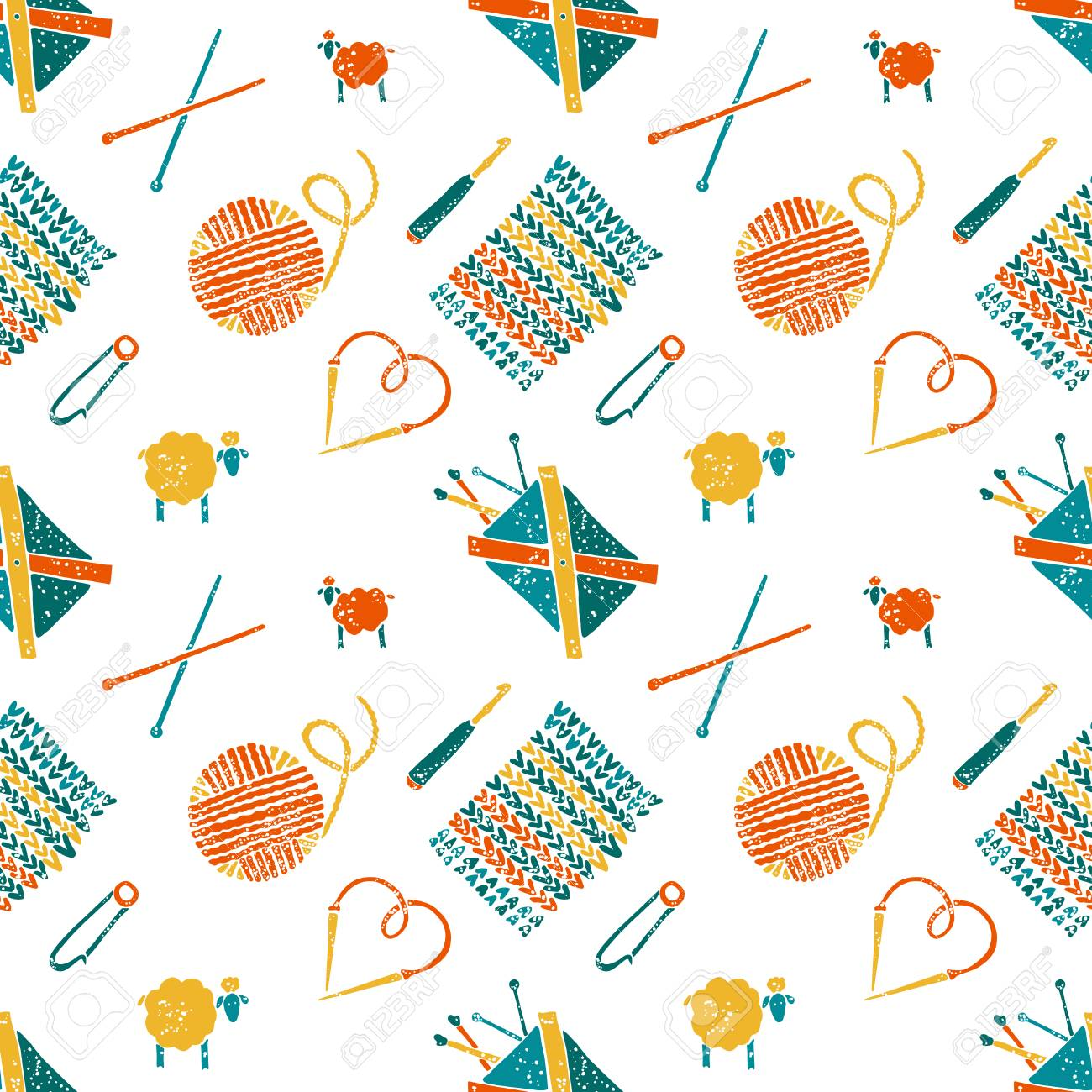 Vector Seamless Pattern On A Knitting Theme, Knitting Accessories ...