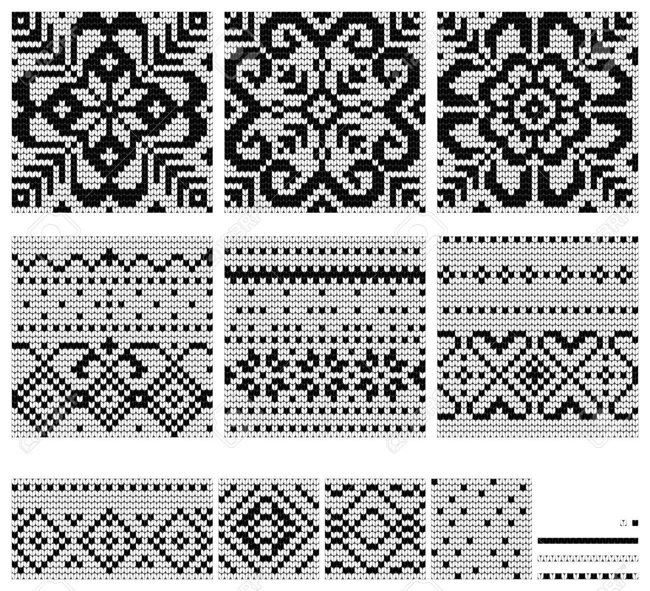 Set Of Norwegian Star Knitting Patterns, Vector Seamless Patterns ...